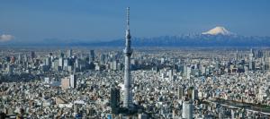 tokyo metro skytree skyline fuji