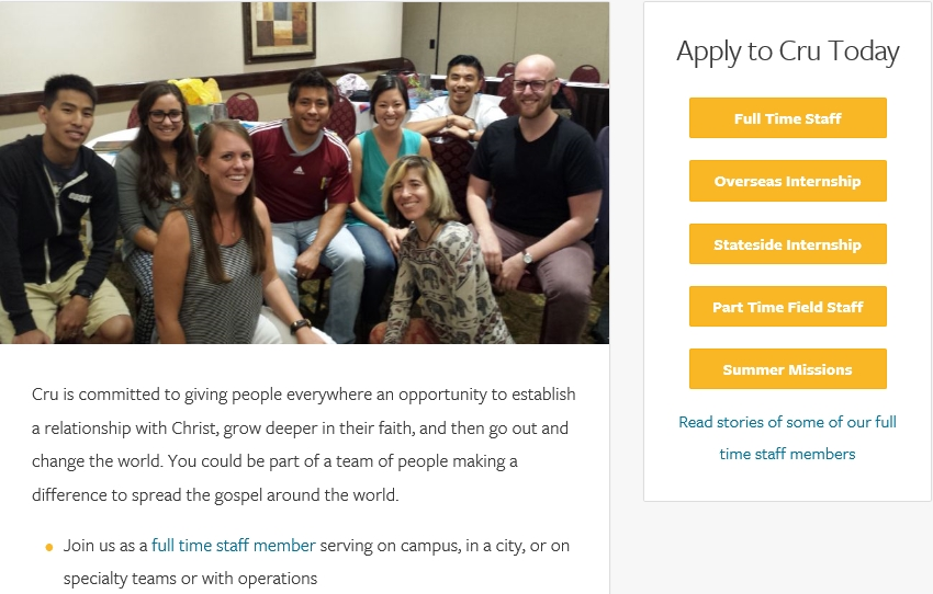 See Cru.org/Opportunities